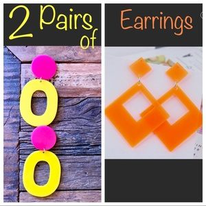 2 PAIR OF EARRINGS INCLUDED, bright neon